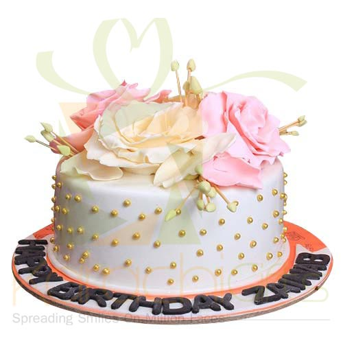Pink White Rose Cake 5lbs By Sachas