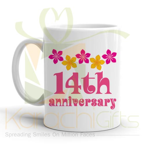 14th Happy Anniversary Mug