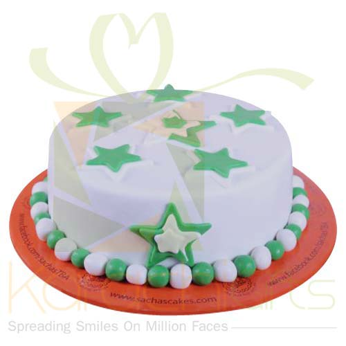 Green And White Star Cake