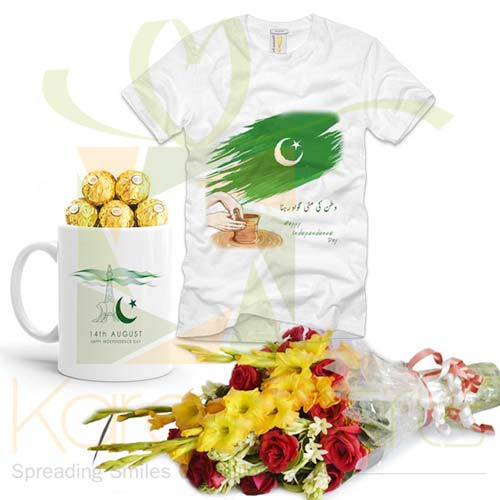 Azaadi Mug Tshirt With Flowers