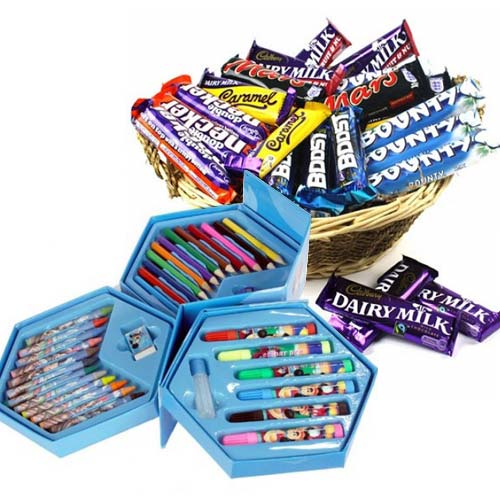Choco Basket With Colouring Set