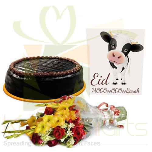 Cake Flowers And Eid Card
