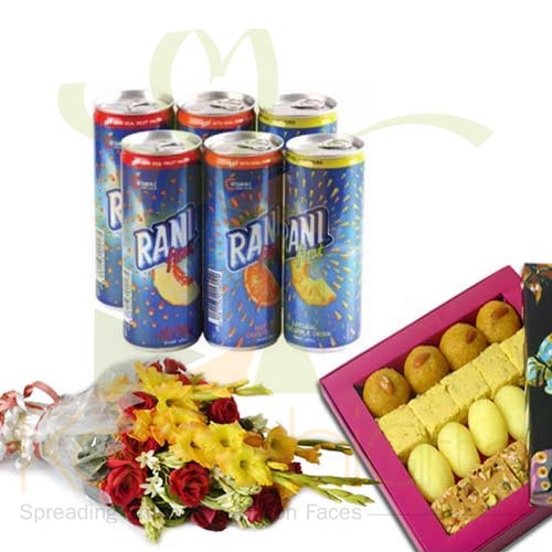 Juice With Flower And Mithai