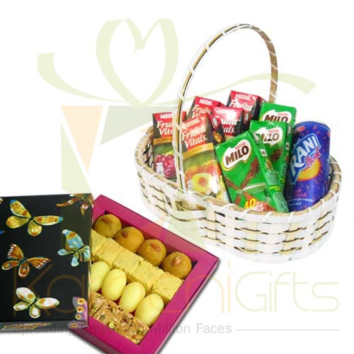 Mithai With Juice Basket
