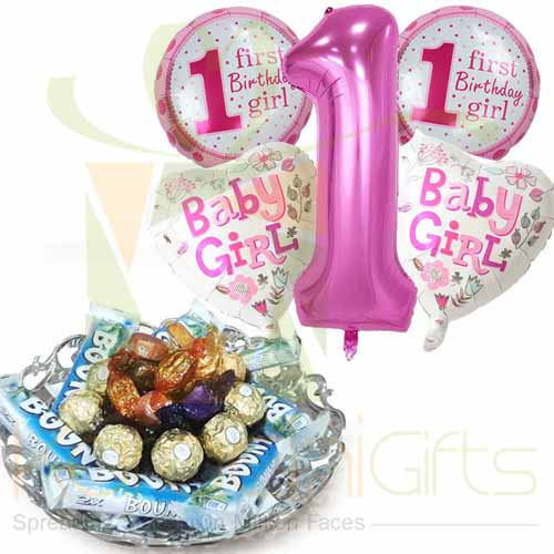1 Birthday Balloon With Choco Tray