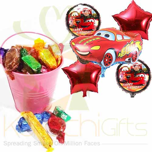 Choc Bucket With Car Balloons