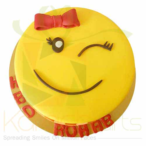 Winking Smiely Cake 5lbs-Blue Ribbon