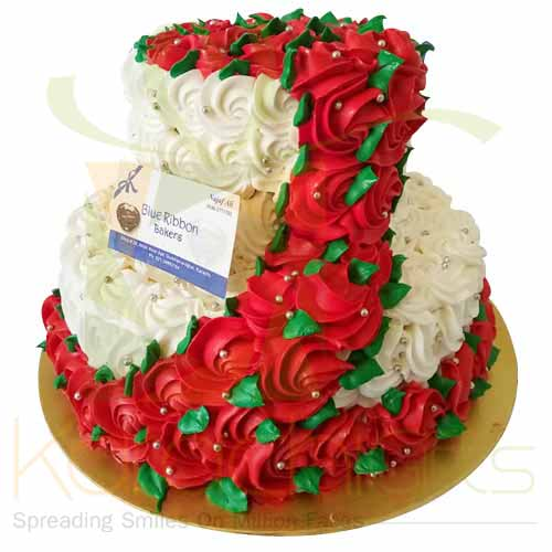 2 Tier Rose Cake 6lbs-Blue Ribbon