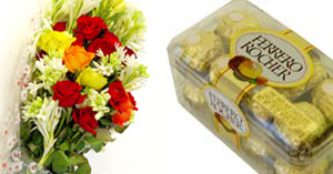 Flowers Bunch & Ferrero Chocolates
