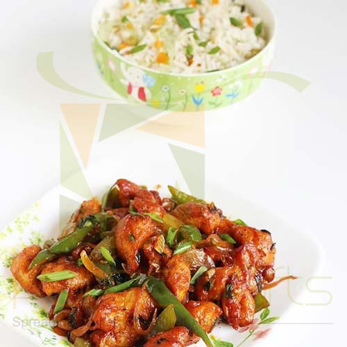 Chilli Chicken With Vegetable Rice