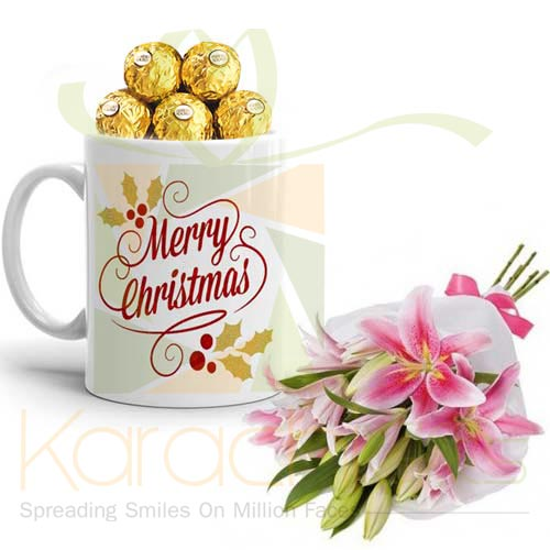 Lilies With X-Mas Chocs Mug