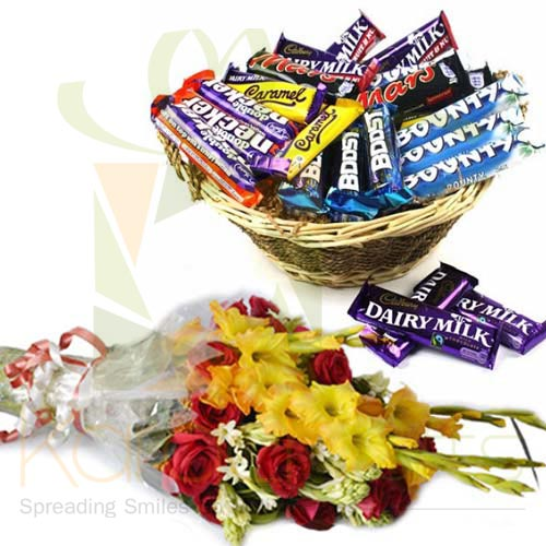 Choc Basket With Bouquet