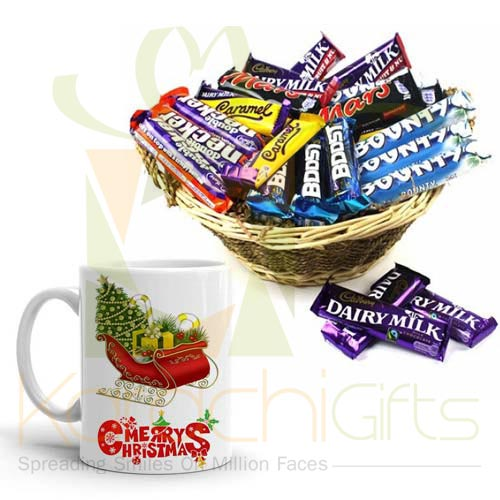 Choc Basket With Xmas Mug