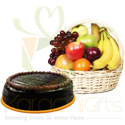 Cake With 5KG Fruit Basket