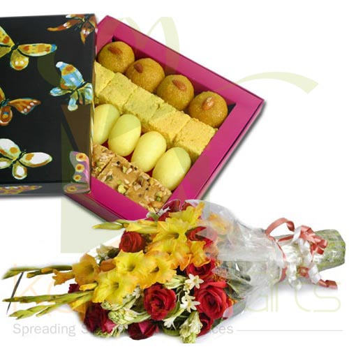 1Kg Mithai With Bouquet