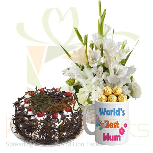 Mom Day Mug with Cake n Flowers