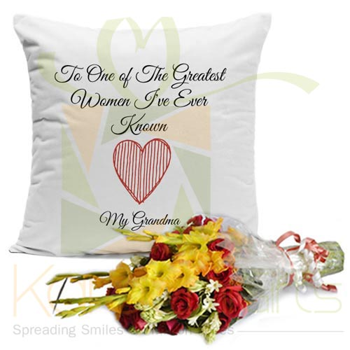 Grandma Cushion With Flowers