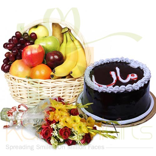 Frutis and Flowers With Maa Cake