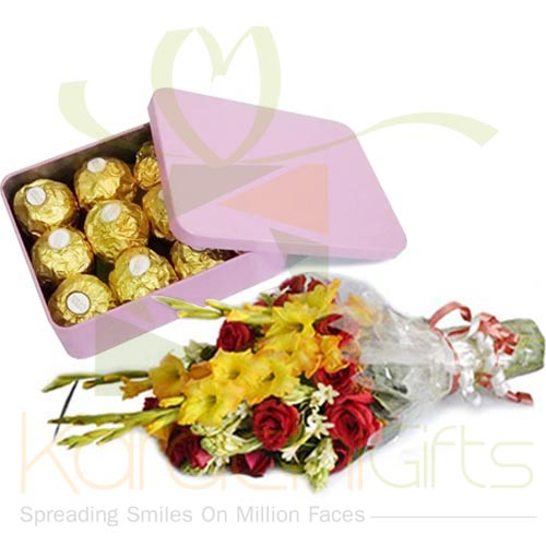 Flowers With Ferrero Tin Box