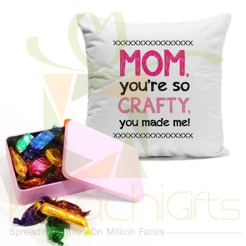 Mom Cushion With Chocolate Tin