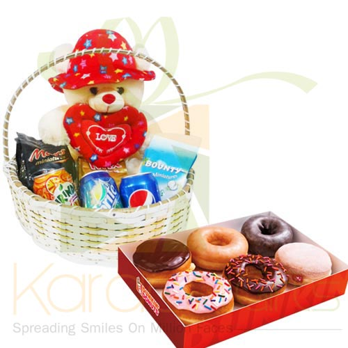 Teddy Basket With Donuts