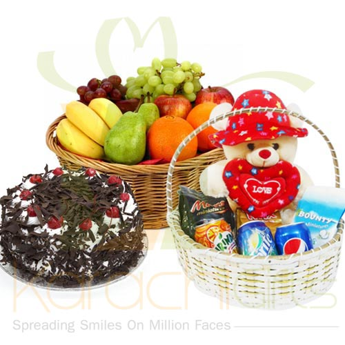 Fruits And Cake With Teddy Basket