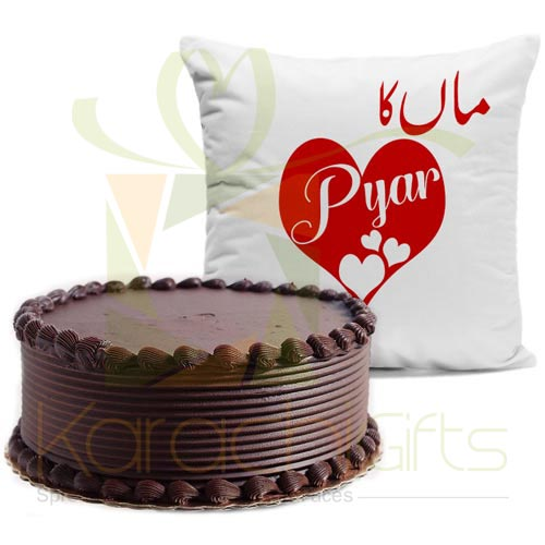 Maa Ka Pyar Cushion With Choco Cake