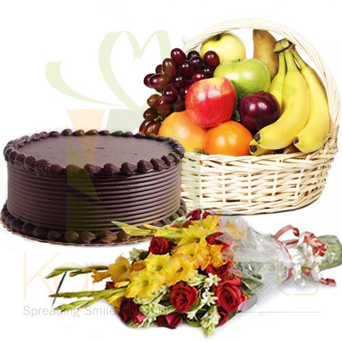 Choco Cake With Flowers And Fruits