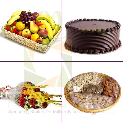 Cake Fruit Flowers and Dry Fruits