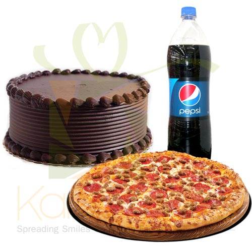 Pizza With Chocolate Cake