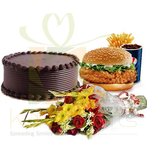 Zinger Meal With Cake and Bouquet