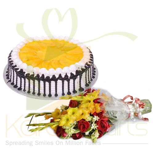 Mango Cake With Flowers