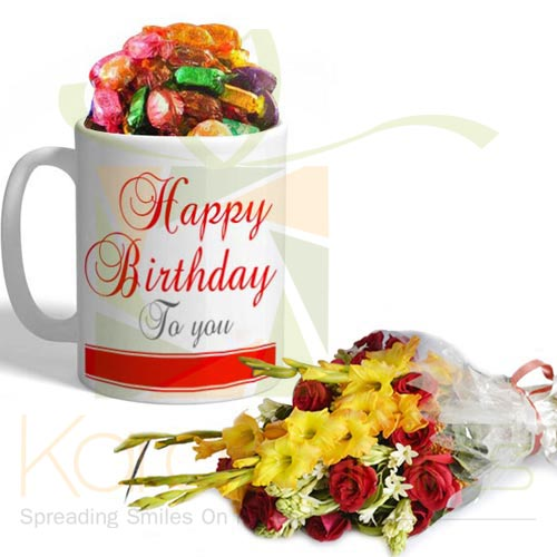 Birthday Choco Mug With Flowers