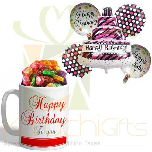 Birthday Choco Mug With Balloon