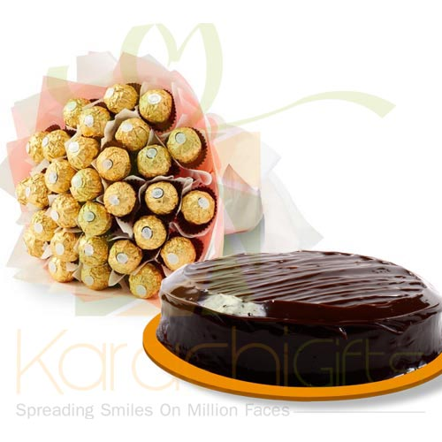 Ferrero Bouquet With Cake