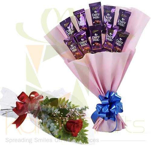 Cadbury Bouquet With Rose