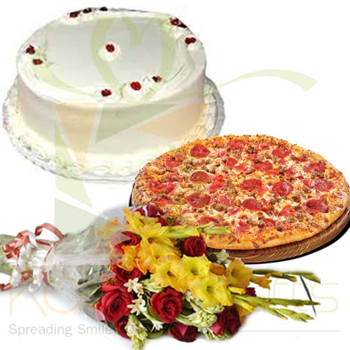 Pizza With Cake And Flowers