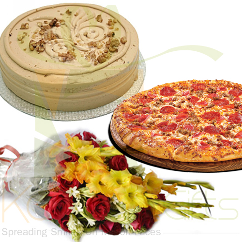 Coffee Cake With Flower And Pizza