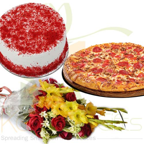 Red Velvet Cake Flower Pizza