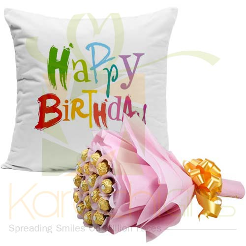 Bday Cushion With Choc Bouquet