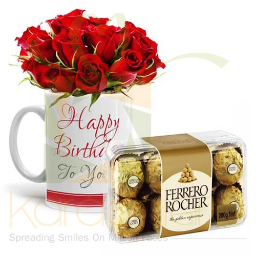 Rose Bday Mug With Ferrero