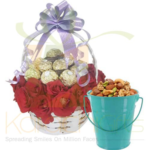 Rose Choc Basket With Dry Fruits