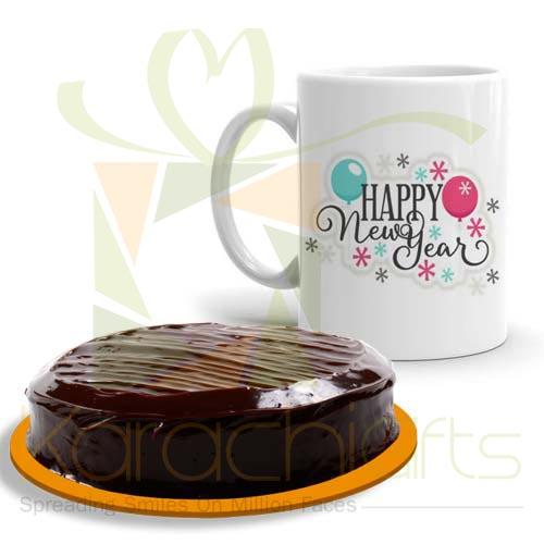 New Year Mug With Cake