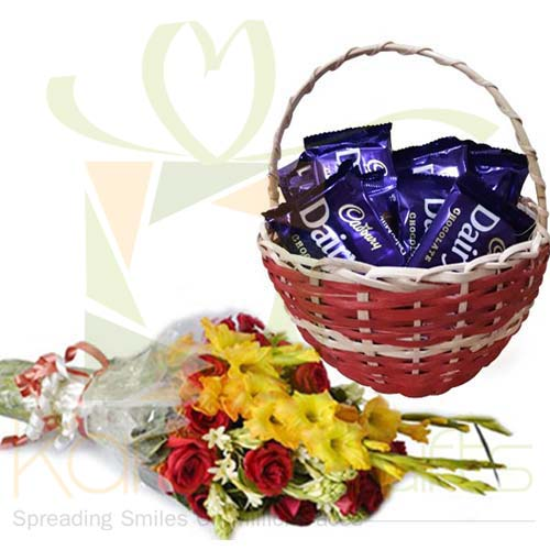Cadbury Basket With Flowers