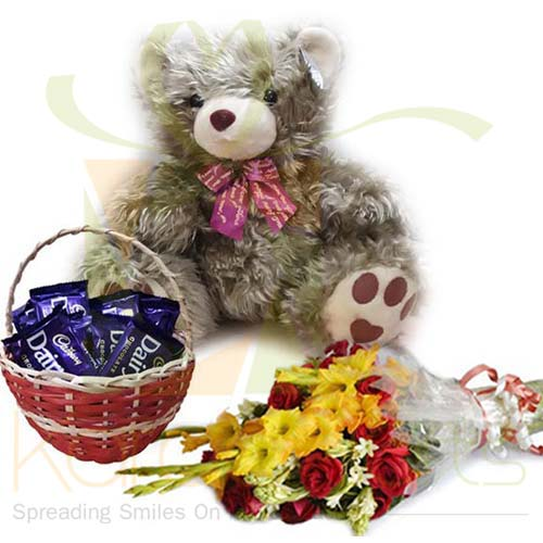 Cadbury Basket Teddy And Flowers