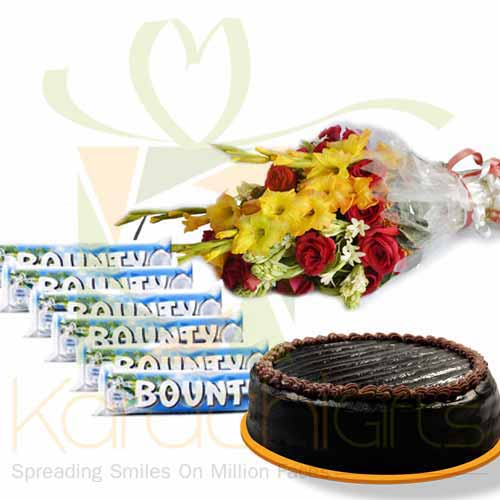 Bounty Bars With Bouquet And Cake