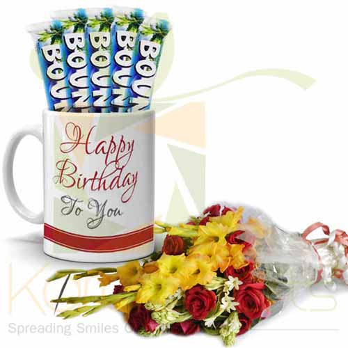 Bday Choc Mug With Bouquet
