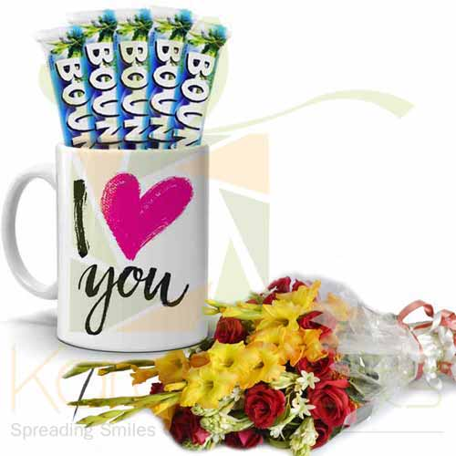 Love Choc Mug With Bouquet