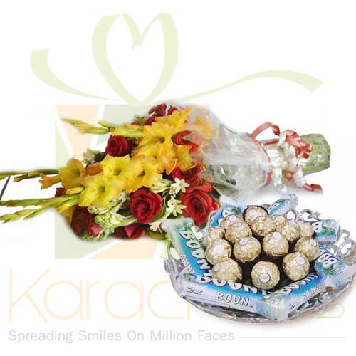 Bouquet With Choco Tray