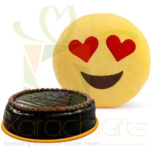 Cake With Love Emoji Cushion